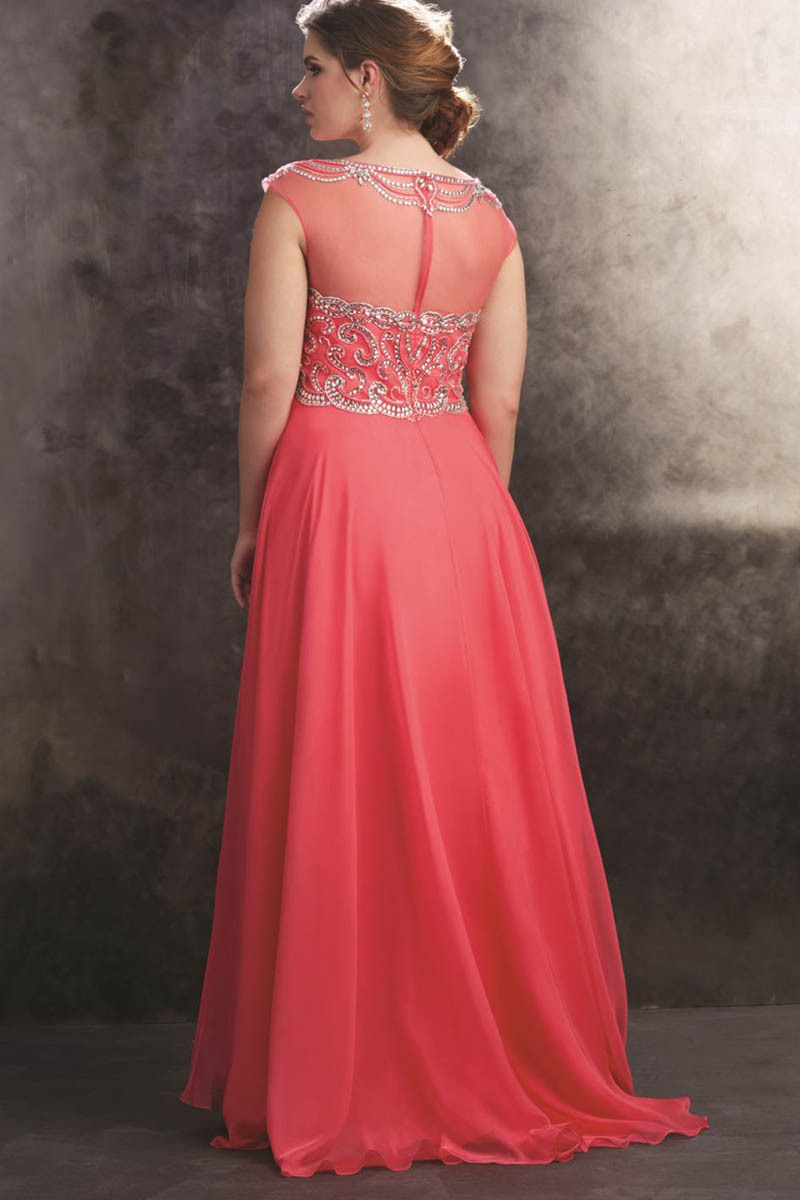 Coral Plus Size Covered Back Prom Dresses Light Blue Luxury Beaded ...