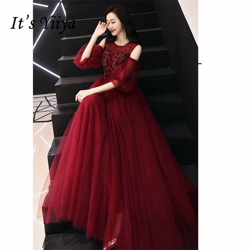 It's YiiYa Dress Women Party Night Beeded Crystal Tube Tulle Long Prom Dress Puff Sleeve Vestidos De Gala Plus Size 2019 E517
