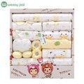 100% algodón 18 unids/set bebé Recién nacido ropa 0-3 meses de Primavera de Dibujos Animados bebé recién nacido ropa de Verano regalo conjunto chándal