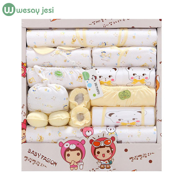 100% cotton 18pcs/set New born baby boy clothes 0-3 months Cartoon Spring Summer newborn baby girl clothes gift set tracksuit