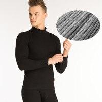 1 set 2018 winter Men's Fashion thermal underwear men High collar cotton thick warm mens underwear long johns