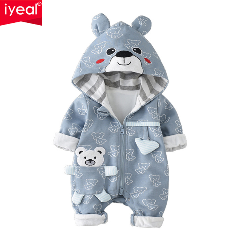 IYEAL Baby Rompers Winter Cute Bear Hooded Long Sleeve Toddler Jumpsuits Baby Boy Girl Clothes Cotton Infant Newborn Clothing цена