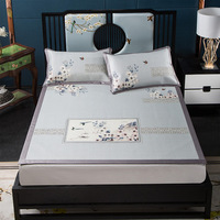 Classical Style Print pattern soft three pcs cool ice sheet can be washed summer sleeping mattress flat sheet #648