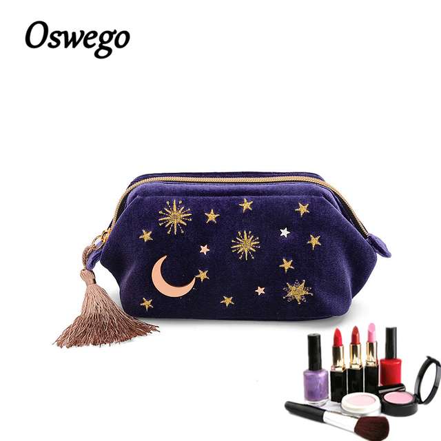 Personalized Cosmetic Bag Makeup Bag w/ Tassel Keychain - 8x5.5 inches