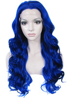 Imstyle Deep Wave highlight blue 24 inches Drag Queens Cosplay Heat Resistant Synthetic Lace Front Wig