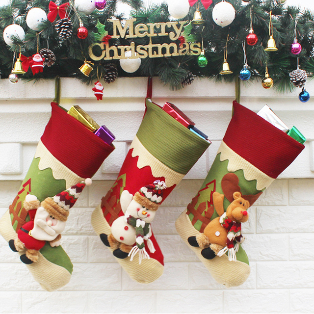 Large Christmas Ornaments.Us 10 87 30 Off Large Christmas Stockings 3pcs Lot Christmas Tree Ornaments Decoration Santa Claus Snowman Elk Xmas Festival Gift Holders Bags In