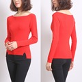 Autumn Winter Women Thin Skinny Pullover Sweater Red Casual Slim Slash Neck Knitting Shirt Bottoming Shirt Side Slit