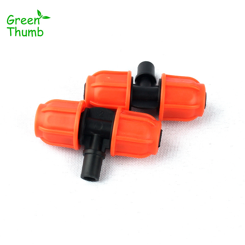 40pcs 8/11mm to 6mm Thread Lock Nozzle Tee Connector for Horticultural Irrigation Plastic Orange Thread 3 Way Connector