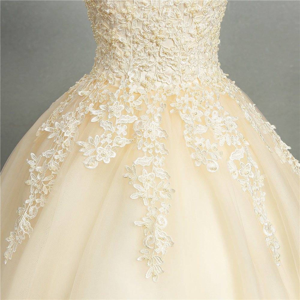 Image 5 - ZJ8076 Ball Gowns Sweetheart White Ivory Tulle Champagne Wedding Dresses 2019 with Pearls Bridal Dress Plus Size 2 26W-in Wedding Dresses from Weddings & Events