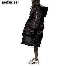 Женщины 2017 Корея Моды Высокого Качества С Капюшоном Большой Карман Свободные Утолщаются Долго Вниз Перо Черный Плюс Размер Зимнее Пальто TC957