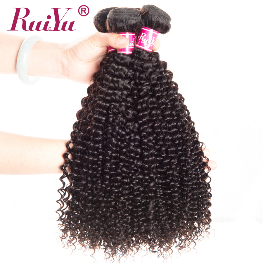 "RUIYU Hair Bundles Peruvian Kinky Curly Weave Human Hair Bundles Afro Hair Extensions Natural Color Non Remy Hair 10""-28"" 1pc"