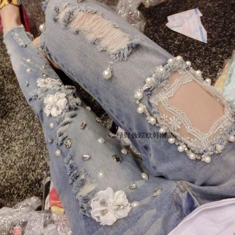 Fashion Embroidered Flares Jeans With Embroidery Ripped Jeans For Women Jeans With Lace Sexy Skinny Jeans Pencil Pants Pp42 Z30