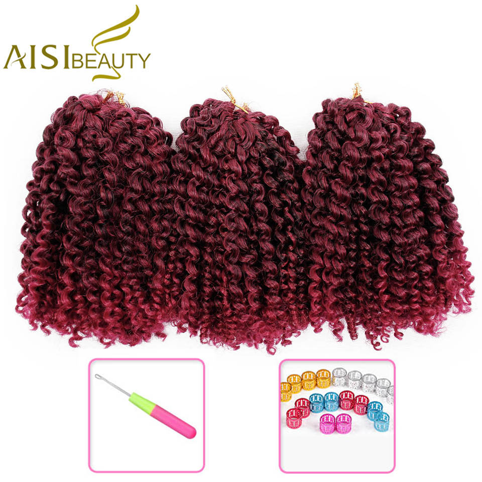 Ombre Hair Marley Braids Crochet Braid Synthetic Braiding Hair Extensions for Women 8 inches Blonde Black Red Brown Purple