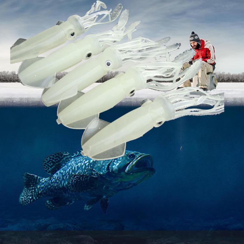 2017 NEW fishing pesca 5PCS Luminous Glow Squid Octopus Soft Bait Fishing Lure Tackle Jig Hooks Tackle SEPTEMBER21