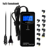 LCD Third Generation Smart Multifunctional Universal Power Supply Home or Car Tablet Charger Laptop Adapter 90W with USB2.4A