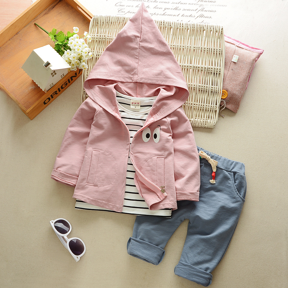 BibiCola 2018 Baby Boys Clothing Sets Kids Tracksuit for Boys Coat+Striped T-shirt + Pants 3pcs Sport Suit Children Clothes Set bibicola autumn baby boys clothing set gentleman outfits infant tracksuit 3pcs plaid t shirt pants vest sets bebe sport suit
