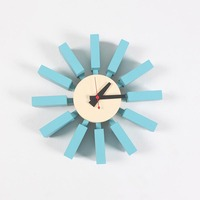 European Style Blue Wall Clock Metal Wooden Fashion Sun Shape Watch Furniture Decoration Adornment Crafts Modern Art Wall Clock