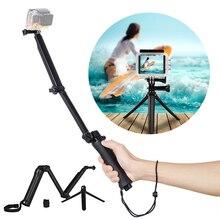 3 in 1 Adjustable Camera Selfie Stick 3 Sections Folding Arm Mini Tripod Waterproof Monopod Stand for Gopro Yi