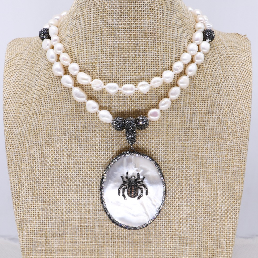 Natural pearls necklace pendant necklace Fashion shell & tiny bugs pendant jewelry necklace fashion jewelry gift for lady 4127
