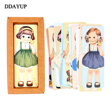 Cute kawaii curly girl dolls paper bookmark cartoon vintage