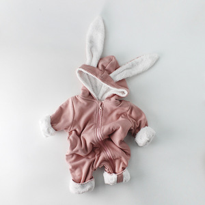 Image 2 - Winter Baby Girl Romper Long sleeved Clothes For Baby And Rabbit Ears Newborn Baby Boy Clothes