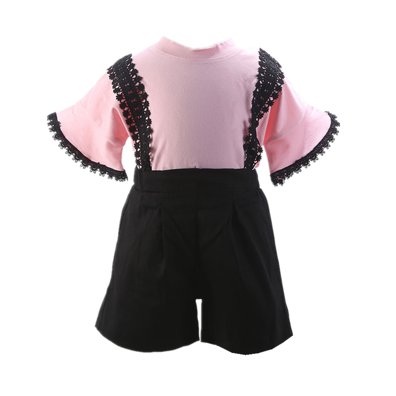 2018 Girls Clothing Set Summer Casual Children Tracksuits For Girls Cotton Lace T-shirt+Short Kids Sport Suits Infant Clothes