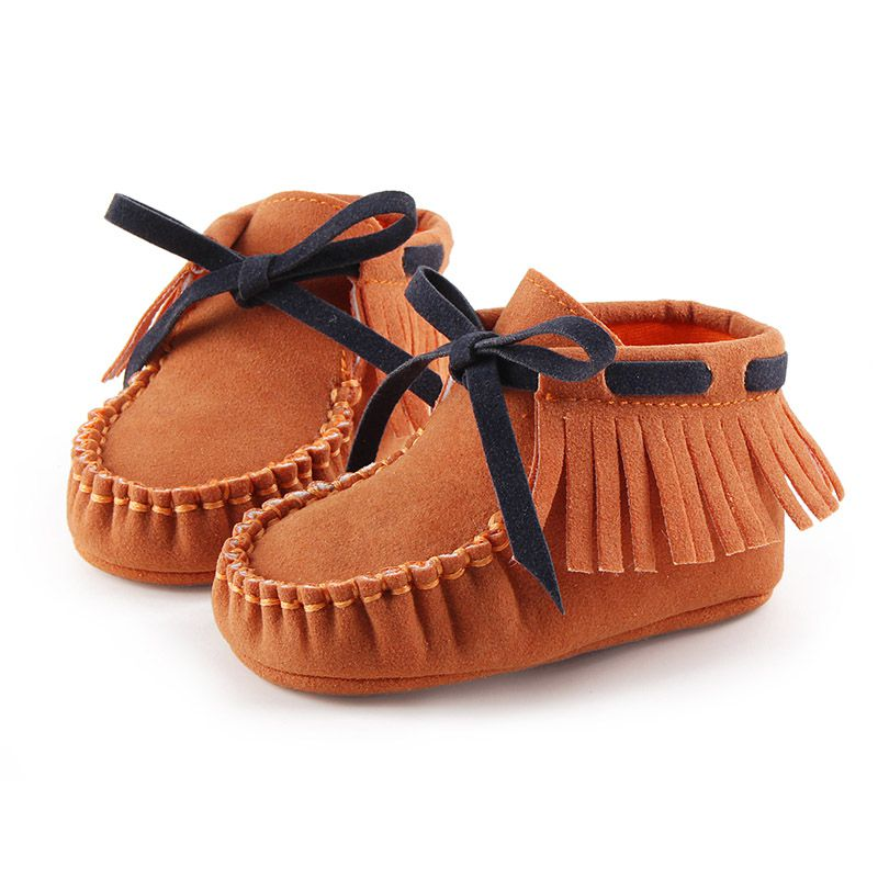 New Autumn Spring Newborn Girls Fringe Anti-skid First Walkers Bowknot Kids Girl Cack Slip On Shallow Shoes P1