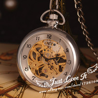 Vintage Silver Men Ultrathin Mechanical Pocket Watch With Chain No Cover Box Hand Winding Best Gift