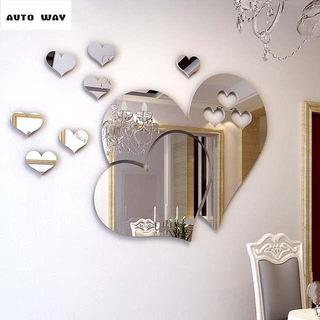 Romantic love Mirror 3D wall stickers Self adhesive type Dressing ...