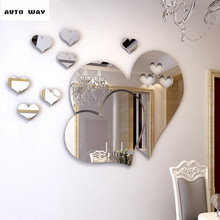 Romantic love Mirror 3D wall stickers Self-adhesive type Dressing mirror Wall decoration Living room dining room Stickers
