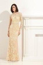 Charming langarm aufkleber brautkleid mutter lange elegante abendkleid benutzerdefinierte größe QW10