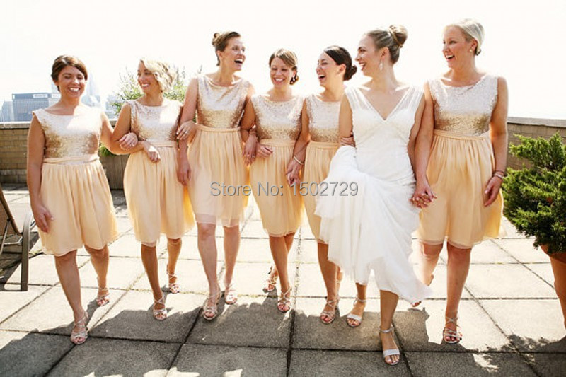 Popular Short Sequins Champagne Gold Bridesmaid Dresses-Buy Cheap ...