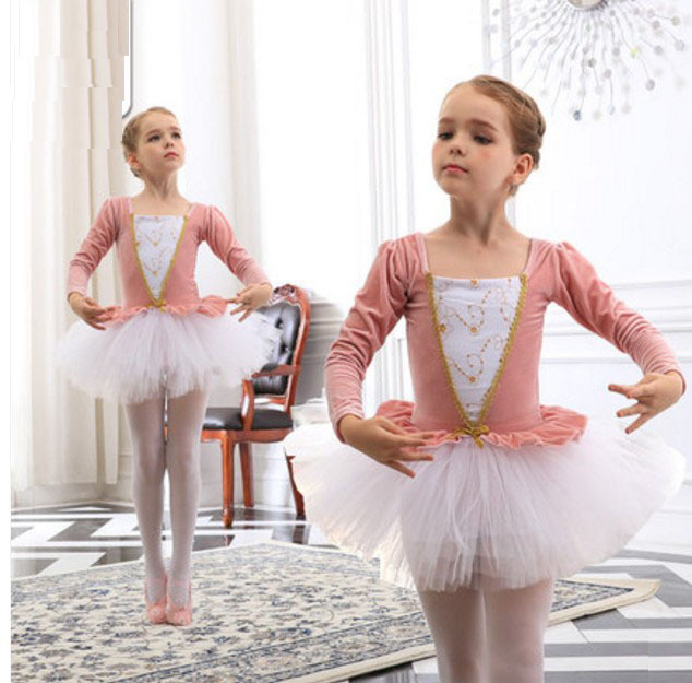 Uzun Kollu Kadife Bale Elbise Kız Bale Dans Tutu Balerin Dans Elbise Siyah/Pembe Kuğu Gölü Kostüm Kızlar Için çocuklar