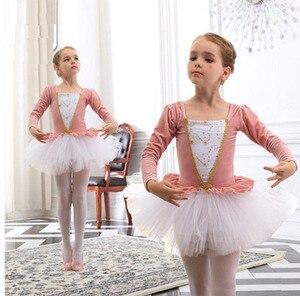 Image 1 - Vestidos de Ballet de manga larga para chicas, tutú de Ballet de danza, Ropa de baile de bailarina, disfraz de Lago Cisne Negro/rosa para niñas y niños