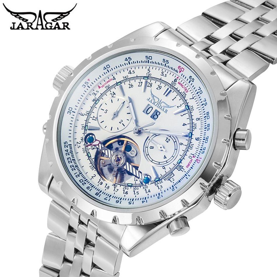 Reloj Hombre JARAGAR Fashion Watch Mens Day Flywheel Auto Mechanical Stell Wristwatch Gift Box Gift Free