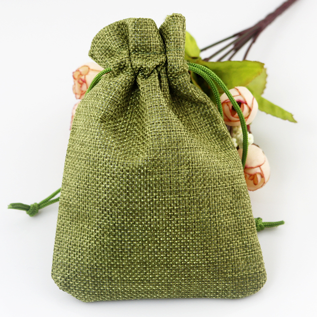 Whole 100pcs Lot Olive Green Jute Bags 7x9cm Small Burlap Gift Bag Pouches Favor Jewelry