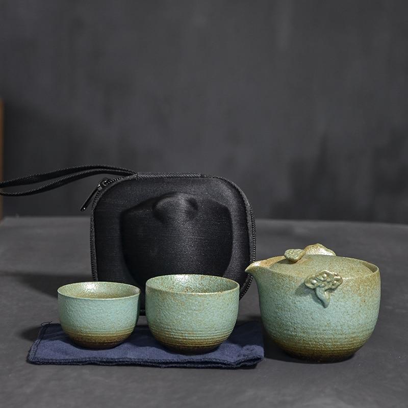 TANGPIN ceramic teapot gaiwan with 2 teacups portable travel tea set drinkware