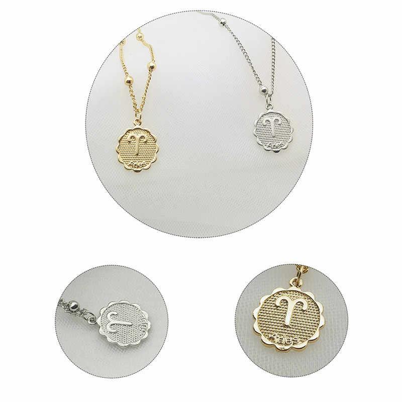 สิบสอง Constellations เหรียญสร้อยคอทองแดง Leo จี้สร้อยคอผู้หญิงเครื่องประดับ 12 Horoscope Clavicle Chain