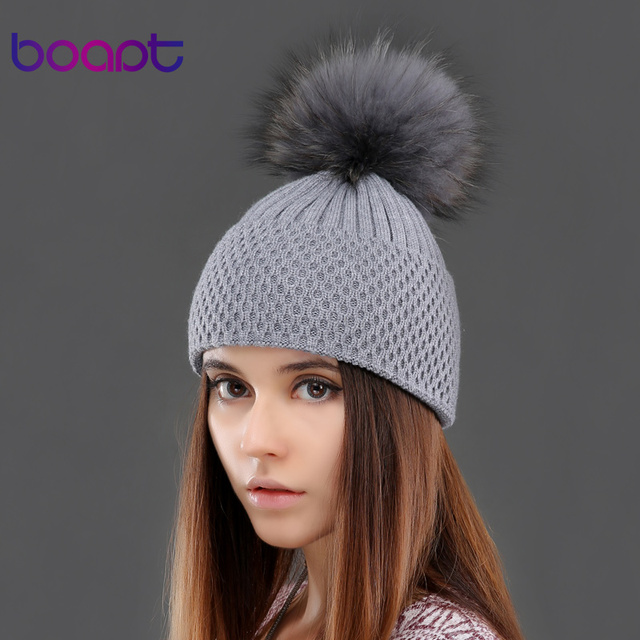 BOAPT cashmere warm knited hat winter natural genuine real raccoon fur pom pom cap for women's hats female hat headgear beanies