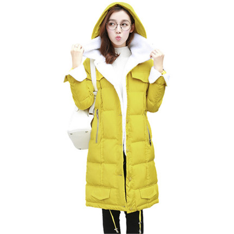 Solid Color Fashion Single Breasted Thick Cotton Hooded Warm Long Parka Slim Padded Outerwear Manteau Femme Hiver Casual TT3350 fashion warm lambswool hooded thick cotton parka padded manteau femme hiver casual solid color wadded winter jacket tt3349