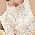 Корейский стиль Aummer Женская Белое Кружево Блузка Fashionl Крючком Леди С Длинным Рукавом Твердые Рубашка Топы Блузки Camisa feminina Плюс размер