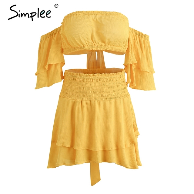 Simplee Off shoulder ruffles women jumpsuit romper Sexy high waist cross lace up backless overalls Summer elastic beach jumpsuit