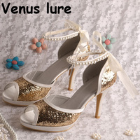 Custom Handmade Glitter Gold Shoes Ankle Straps Wedding Party Shoes High Heeled