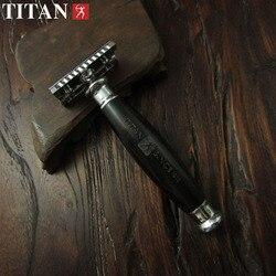 Титановая двойная Безопасная бритва с деревянной ручкой и частью из нержавеющей стали Бесплатная доставка