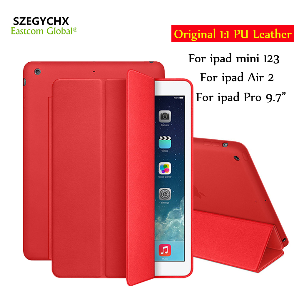 SZEGYCHX Original1:1 Ultra Slim Smart Cover For iPad mini 123 Pro 9.7 Air2 / 6 PU Leather Smart Film Stand Case Auto Wake/Sleep for ipad air 2 air 1 case slim pu leather silicone soft back smart cover sturdy stand auto sleep for apple ipad air 5 6 coque