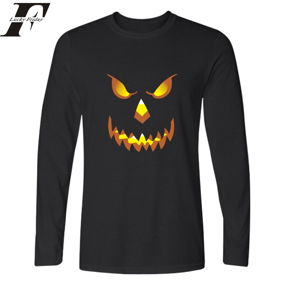 2017 Halloween Smiling Pumpkin Funny t shirts Printed T Shirt Men women Long Sleeve T shirt