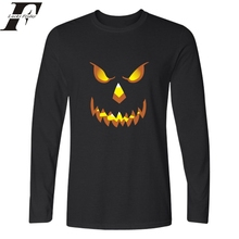 2017 Halloween Smiling Pumpkin Funny t shirts Printed T Shirt Men&women Long Sleeve T-shirt in Horrible fitness Tee Shirts homme