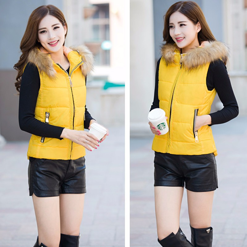 2016 2016 Women Spring Autumn Waistcoats Jacket Hooded Fur Vest Coat Warm Sleeveless Vests Female Plus Size