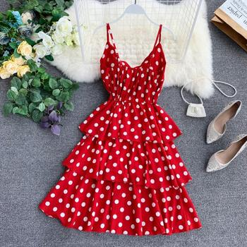 Red Ruffle Polka Dot Summer Dress Women 2019 Casual Rustic vintage High Waist Sexy Mini Strap Beach Dresses Vestido