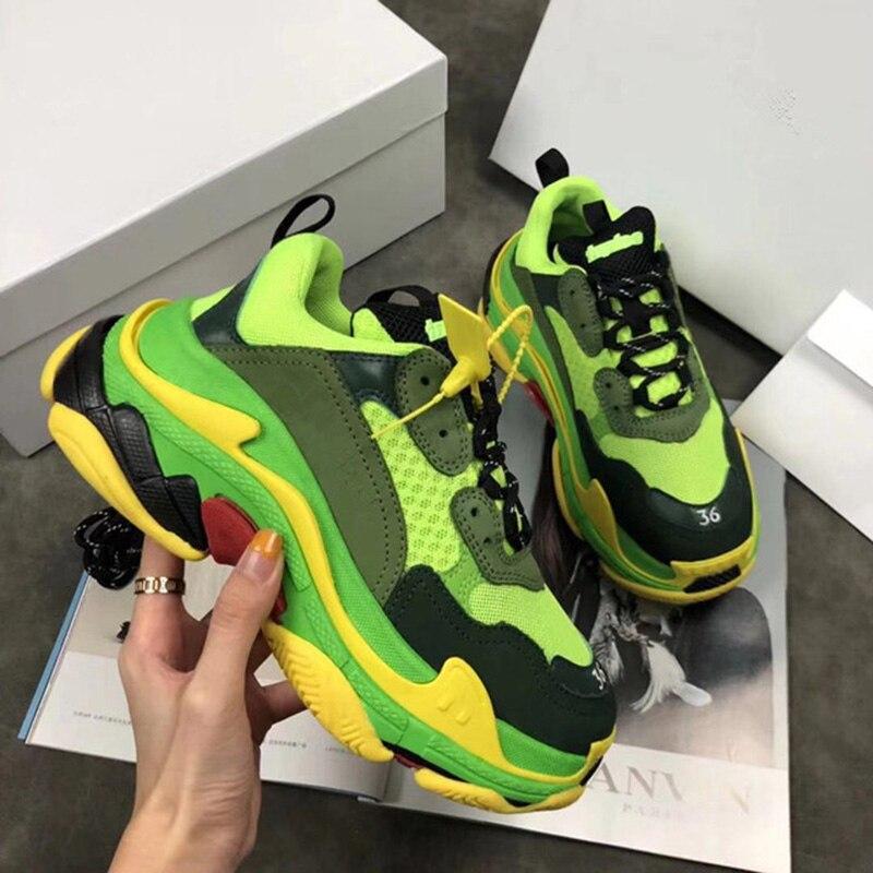 2018 CHAUDE Femmes Hommes Sneakers En Cuir Véritable Chaussures de Course En Plein Air Sport Chaussures Hommes Marque Unisexe Respirant Ne vieilles Chaussures de Course